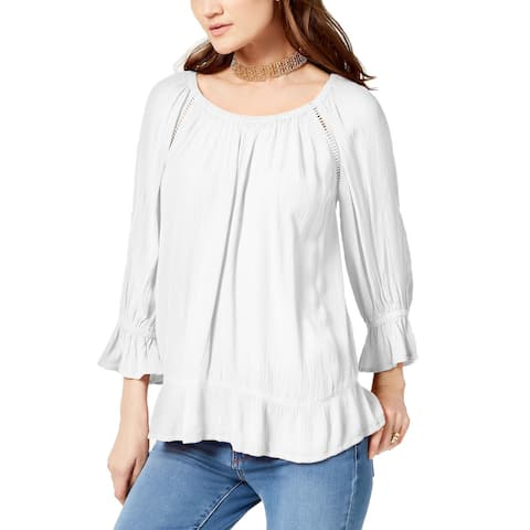 INC International Concepts Women's Crepe Peasant Top (White, XS)