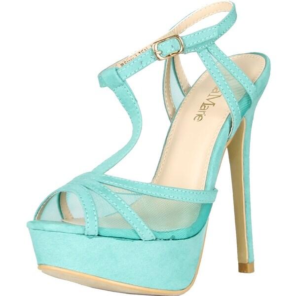 Bella Marie Womens Story-1 Mesh Ankle T-Strappy Sandal Peep Platform Pump Heels