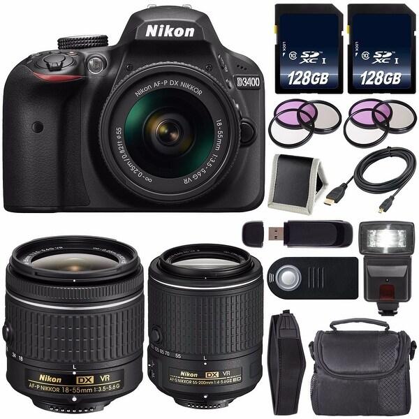Nikon D3400 DSLR Camera with AF-P 18-55mm VR Lens (Black) International Model + Nikon 55-200mm f/4-5.6G ED VR II Lens Bundle