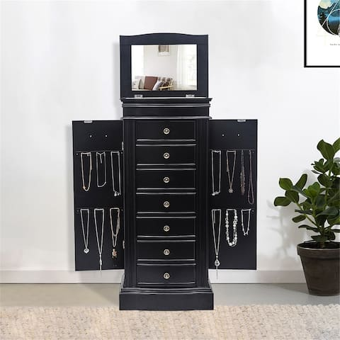 Standing Jewelry Armoire with Mirror, 5 Drawers & 6 Necklace Hooks