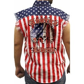 Men's Biker USA Flag Sleeveless Denim Shirt American Liberty Native Skull Warrior