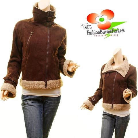Brown Faux Lamb Suede Leather Shearling Aviator Bomber Coat Belted Jacket Top
