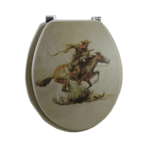 Winchester Western Horse and Rider Wooden Standard Toilet Seat
