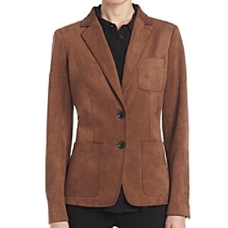 Tommy Hilfiger NEW Brown Women's Size 2 Faux-Suede Blazer Jacket