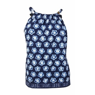 MICHAEL Michael Kors Women's Kanoko Printed Tankini Top (24W, New Navy) - 24W