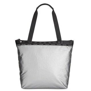 Calvin Klein Womens Ripstop Tote Handbag Contrast Trim Shopper - Large