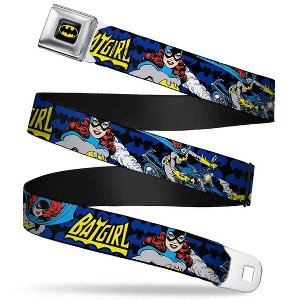 Batman Full Color Black Fluorescent Yellow Batgirl Action Poses Bat Logo Seatbelt Belt