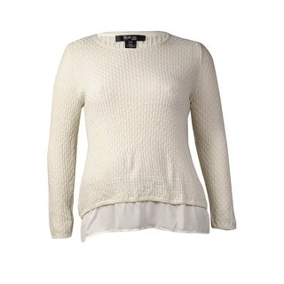 Style & Co. Women's Knitted Chiffon-Hem Top (Winter White, PXL) - Winter White - pxl
