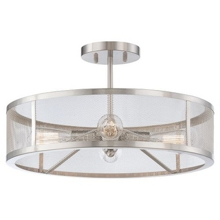 Minka Lavery 4134 4 Light Semi-Flush Ceiling Fixture from the Downtown Edison Collection - Brushed nickel