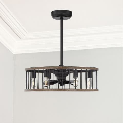 Carbon Industrial LED Fan DLier Farmhouse Sapele - Exact Size