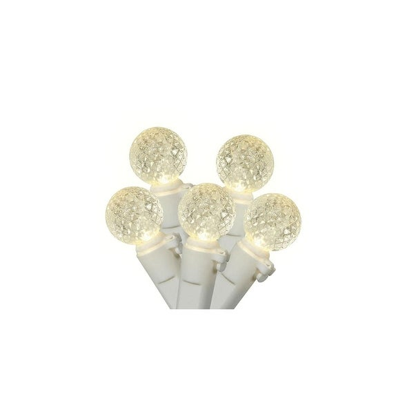 """Set of 50 Warm White LED G12 Berry Christmas Lights 4"""" Bulb Spacing - White Wire"""