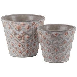Cement Round Embossed Concentric Diamond Design Pot, Set of 2, Vermillion