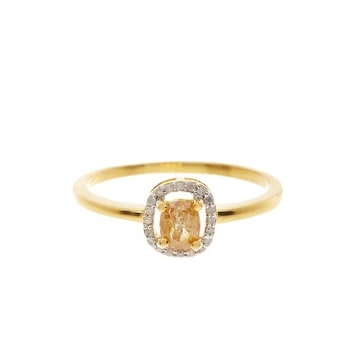 14K Gold Yellow & White Diamond Ring
