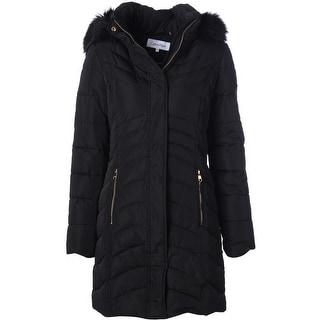 Calvin Klein Womens Puffer Coat Faux Fur Trim Hooded