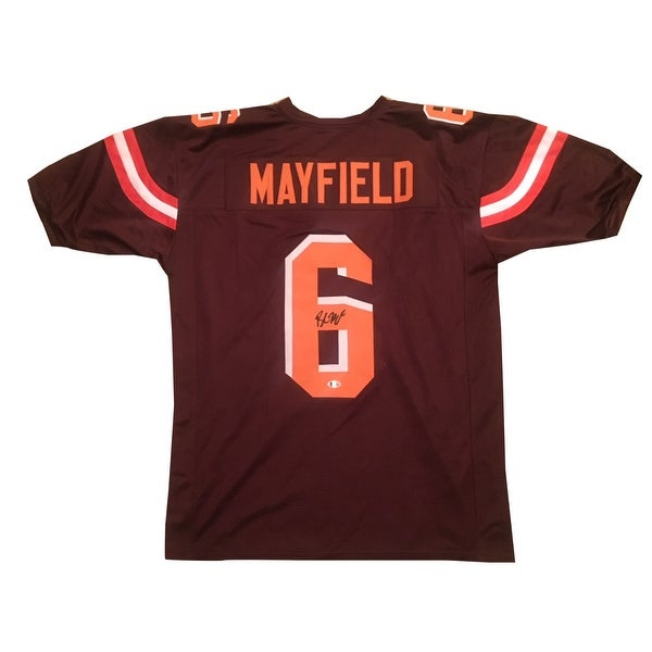 599b93172 Shop Baker Mayfield Autographed Brown Signed Football Jersey Beckett COA -  Free Shipping Today - Overstock - 22390279