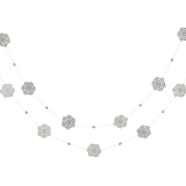 6' Silent Luxury Glittered Silver Snowflake Christmas Garland - Unlit