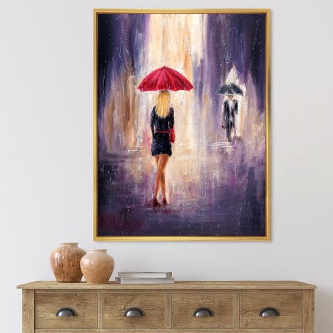 Designart 'The Woman With The Umbrella Walking In The Rain II' French Country Framed Canvas Wall Art Print