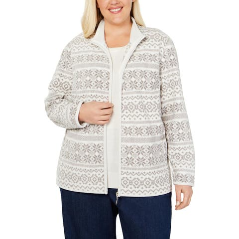 Karen Scott Womens Plus Fleece Jacket Printed Winter