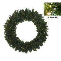 """36"""" B/O Pre-Lit LED Canadian Pine Artificial Christmas Wreath - Clear Lights - green"""