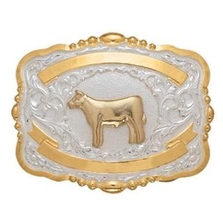 Crumrine Western Belt Buckle Kids Child Calf Steer Gold White 384