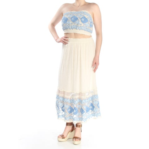 FREE PEOPLE Womens Ivory Embroidered Tube Top & Strapless Maxi Dress Size: M