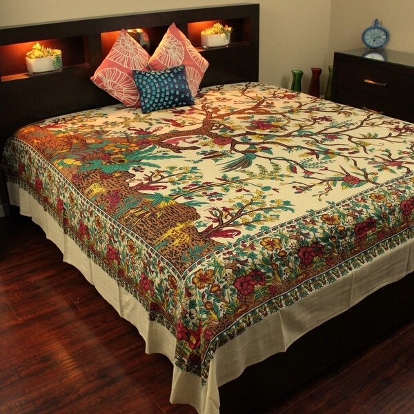 Cotton Tree of Life Tapestry Wall Hanging Tablecloth Thin Bedspread Coverlet Thin Beach Sheet Tan Twin Full Queen & King