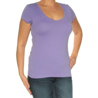 Womens Purple Short Sleeve Scoop Neck Casual Top Size L