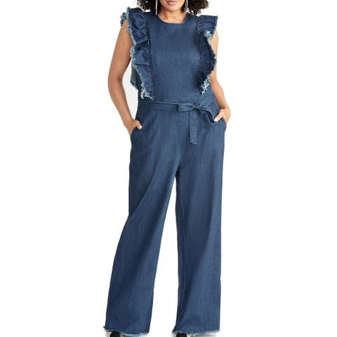Rachel Roy Womens Denim Jumpsuit Medium Blue Size 24W Plus Ruffle