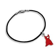 Red Dress Charm on Black Cord Bracelet for Heart Disease