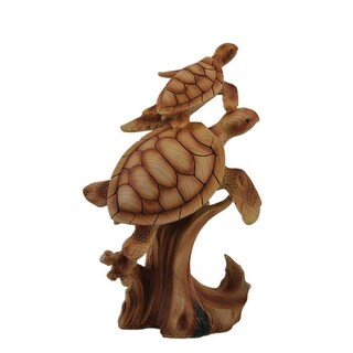 Sea Turtle Mother and Child Wood Look Resin Statue