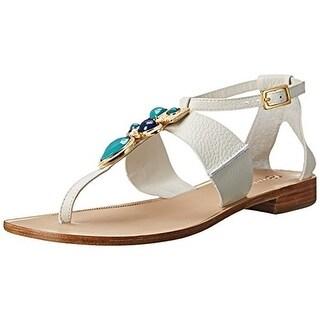 Trina Turk Womens Bellota Embellished Buckle T-Strap Sandals
