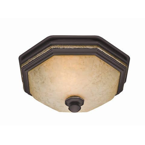 Hunter Home Comfort 82023 Belle Meade 80 CFM 2.0 Sone Ceiling Mounted HVI Certified Bath Fan with Light and Hand Painted Glass