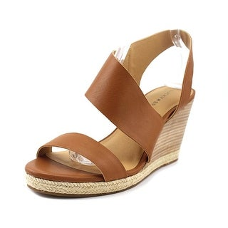 Lucky Brand Lowden Women Open Toe Leather Brown Wedge Sandal