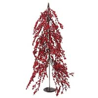 "32"" Downswept Festive Red Berries Artificial Decorative Christmas Tree - Unlit - brown"