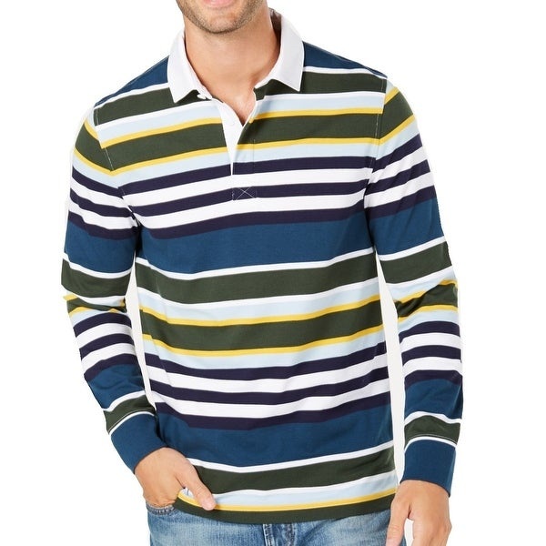 651d9957df6 Shop Club Room Blue Yellow Mens Size 2XL Striped Polo Rugby Shirt - Free  Shipping On Orders Over $45 - Overstock - 28480915