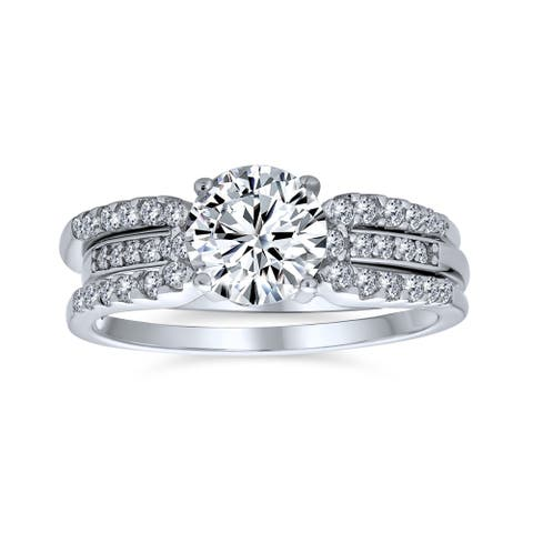 3CT Solitaire AA CZ Guard Engagement Wedding Ring Set Sterling Silver