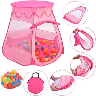 Costway Kid Outdoor Indoor Princess Play Tent Playhouse Ball Tent Toddler Toys w/ 100 Balls