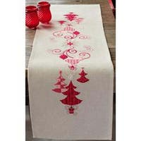 """11.6""""X40.8"""" 14 Count - Red Christmas Decorations Table Runner Counted Cross Stitch"""