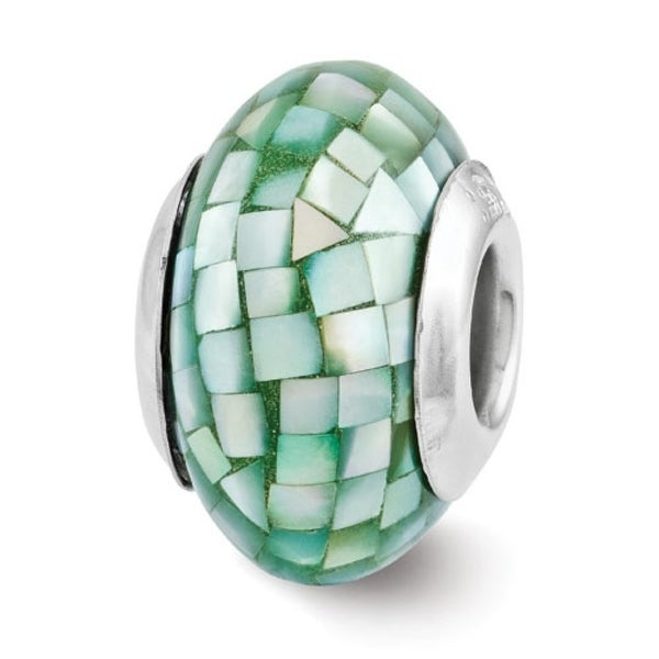 Sterling Silver Reflections Green Mother of Pearl Mosaic Bead (4mm Diameter Hole)