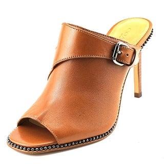 Coach Maple Women Peep-Toe Leather Mules