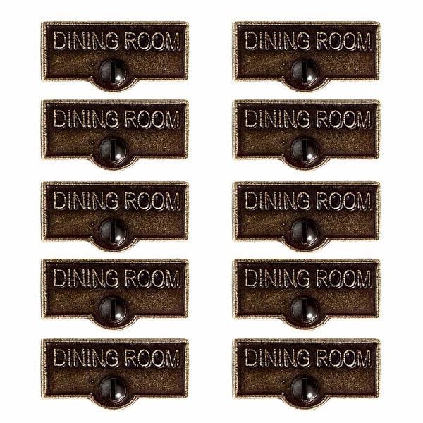 10 Switch Plate Tags DINING ROOM Name Signs Labels Cast Brass