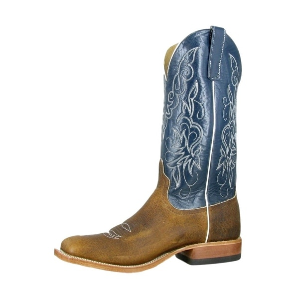 Anderson Bean Western Boots Mens Bison Square Toe Brown Blue