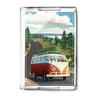 VW Van & Lake - Lantern Press Artwork (Acrylic Serving Tray)