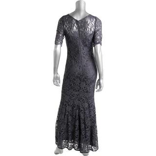 Xscape Womens Petites Mesh Glitter Evening Dress