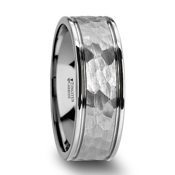 THORSTEN - THORNTON Haered Finish Center White Tungsten Carbide Wedding Band with Dual Offset Grooves and Polished Edges