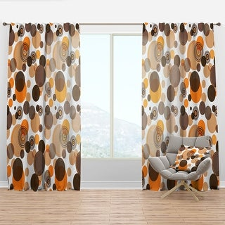 Link to Designart 'Orange and brown retro circles' Mid-Century Modern Curtain Panel Similar Items in Window Treatments