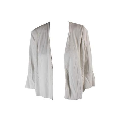 Alfani Petite White Ruffle-Sleeve Cardigan PXL