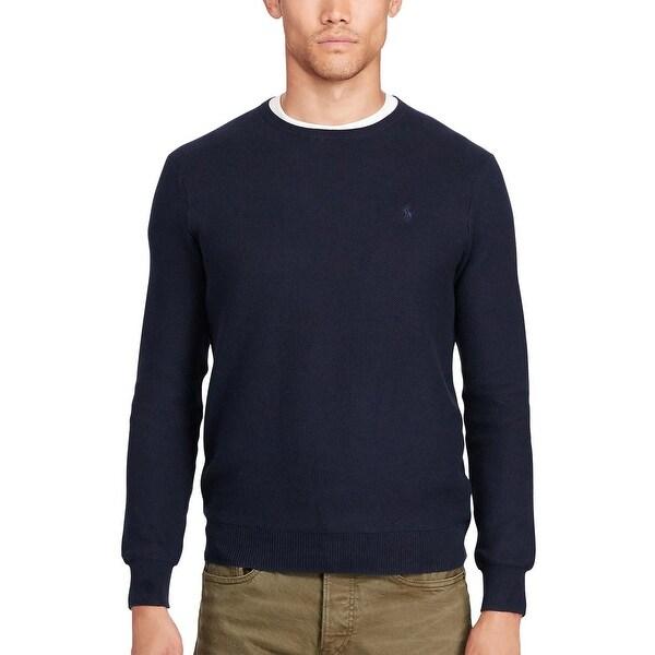 19c2534dceb Polo Ralph Lauren Pima Cotton Crewneck Textured Sweater Hunter Navy X-Large