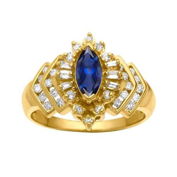 5/8 ct Sapphire and 3/8 ct Diamond Ring in 14K Gold - Blue