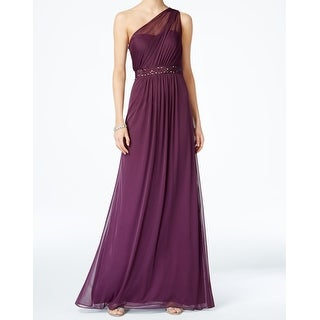 Adrianna Papell Purple Womens Size 8 One-Shoulder Tulle Gown Dress